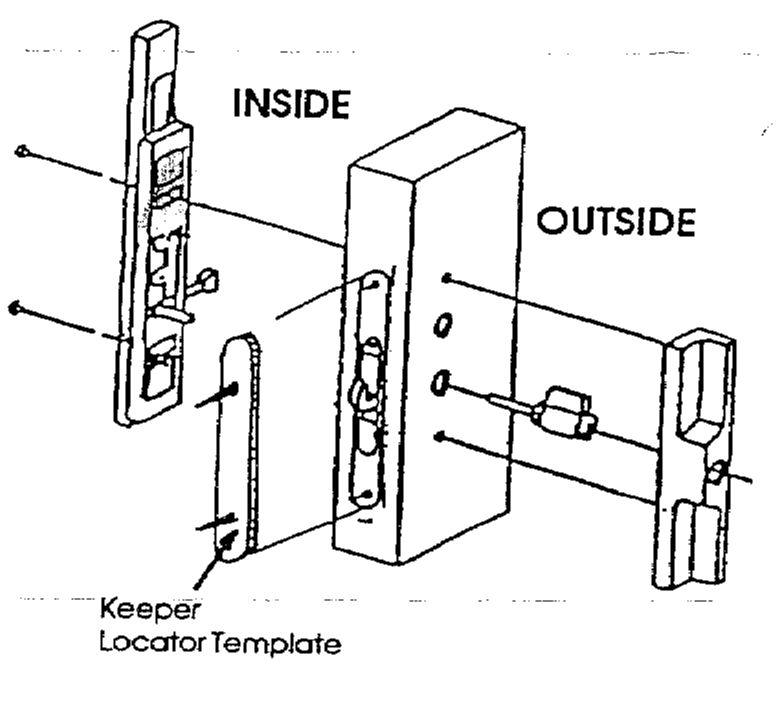 Close The Door Firmly, Allowing The Keeper Locator Template To Make The  Location For The Keeper Screws In The Side Jamb.