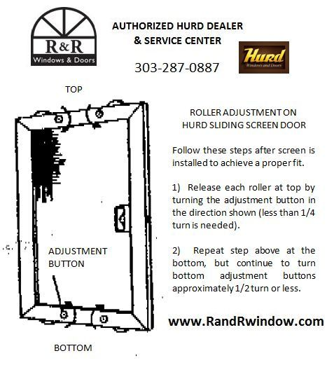 Roller Adjustment on Hurd Sliding Screen Door  sc 1 st  R\u0026R Window - R\u0026R Windows \u0026 Doors & Roller Adjustment On Hurd Sliding Screen Doors | Hurd Window ...